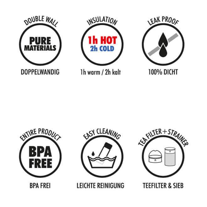Teepresse Vorteile, Glas 400ml doppelwandig, dicht, bpa-frei, Tee Sieb, Teefilter, Deckel
